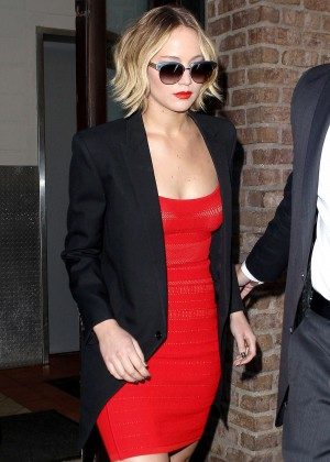 Jennifer Lawrence in Red Dress - Arriving at The Late Show with David Letterman in NY