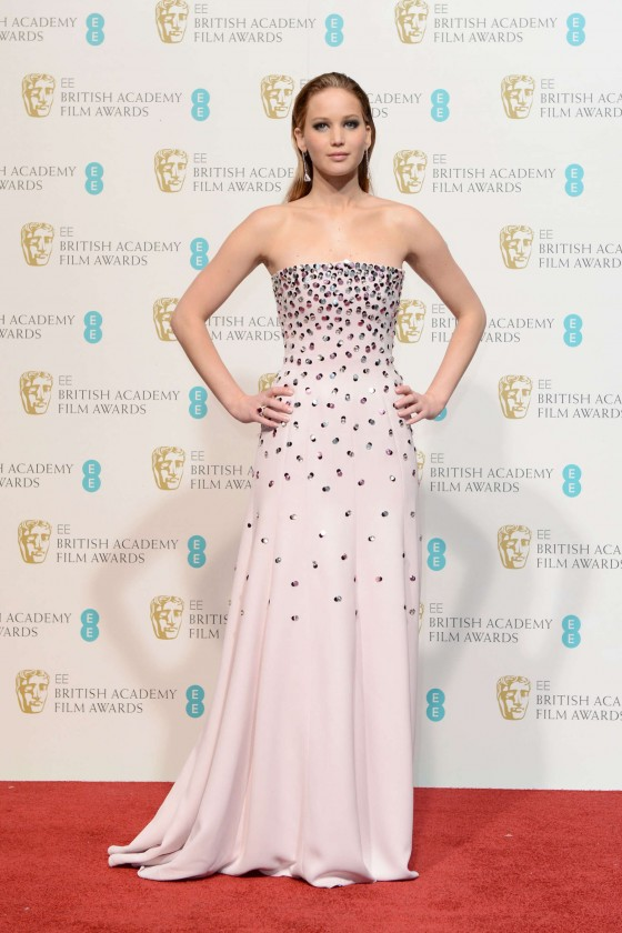 Jennifer Lawrence at BAFTA 2013 Awards in London -01