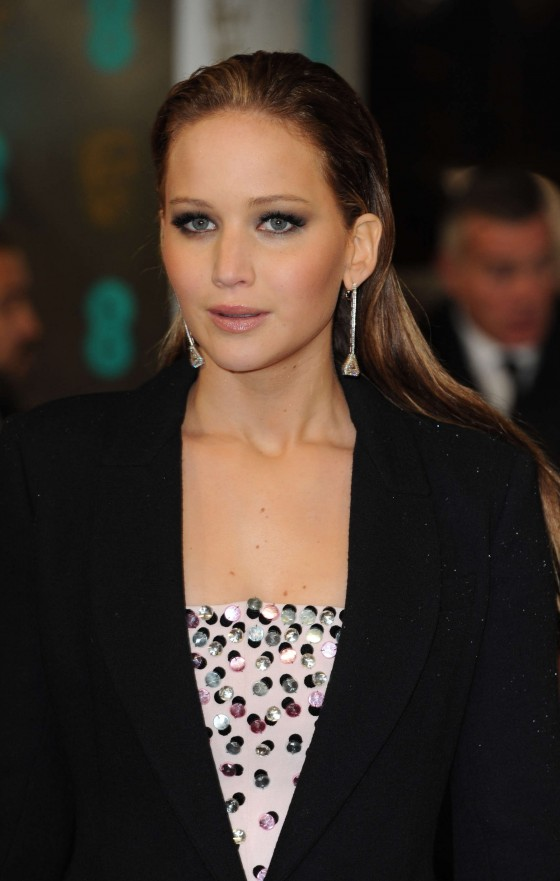 Jennifer Lawrence at BAFTA 2013 Awards in London -02