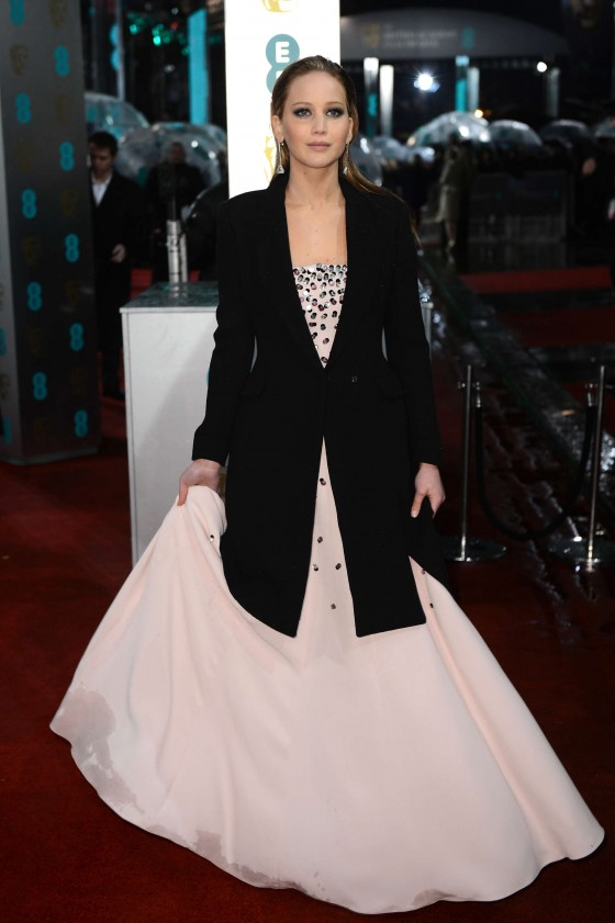 Jennifer Lawrence at BAFTA 2013 Awards in London -03