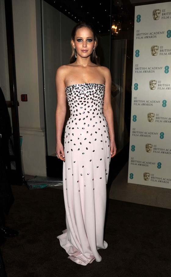 Jennifer Lawrence at BAFTA 2013 Awards in London -07