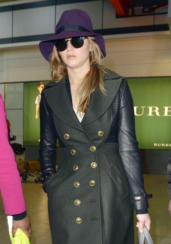 Jennifer Lawrence at Heathrow International Airport