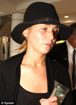Jennifer Lawrence at the airport in Montreal