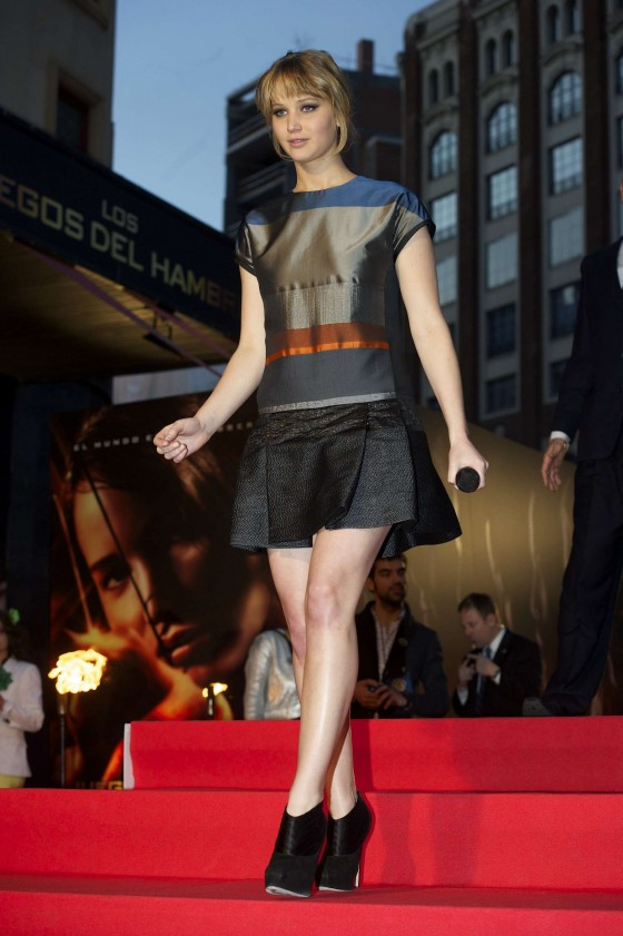 Jennifer Lawrence legs in short dress at The Hunger Games in Spain
