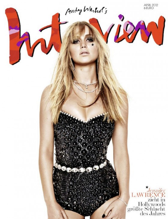 Jennifer Lawrence cleavage for Interview 2012