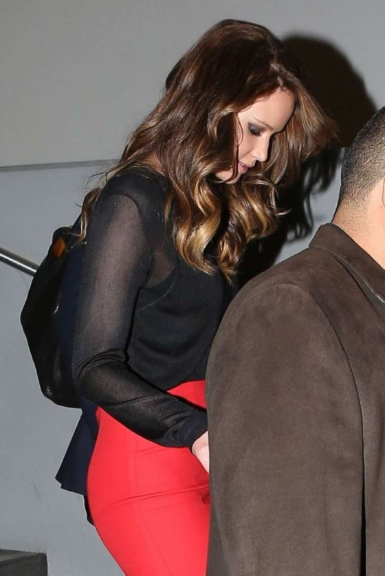 Jennifer Lawrence In red dress at The Piers Morgan Tonight Show