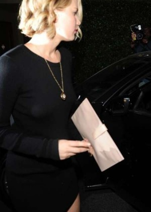 Jennifer Lawrence in Black Mini Dress Leaving Ago Restaurant in LA