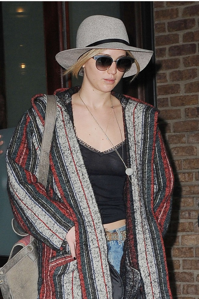 Jennifer Lawrence in Jeans and Tank Top Leaving her hotel in NYC