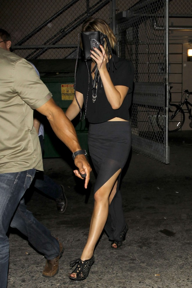 Jennifer Lawrence in Black Skirt Leaving the Coldplay Concert in LA