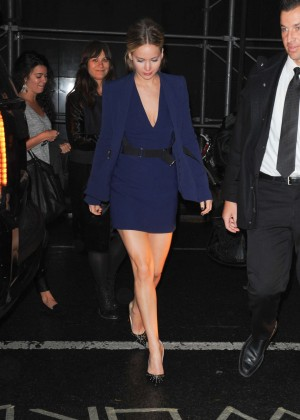 Jennifer Lawrence in Blue Mini Dress - Leaving her hotel in NYC