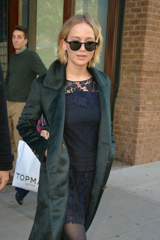 Jennifer Lawrence in Short Dress Out in NYC