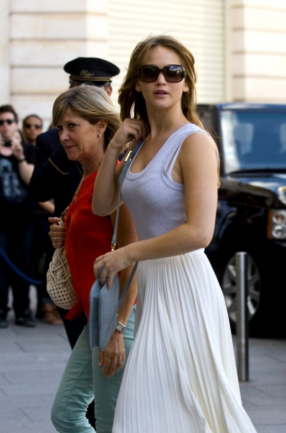 Jennifer Lawrence - In long white skirt showing her bra in Paris