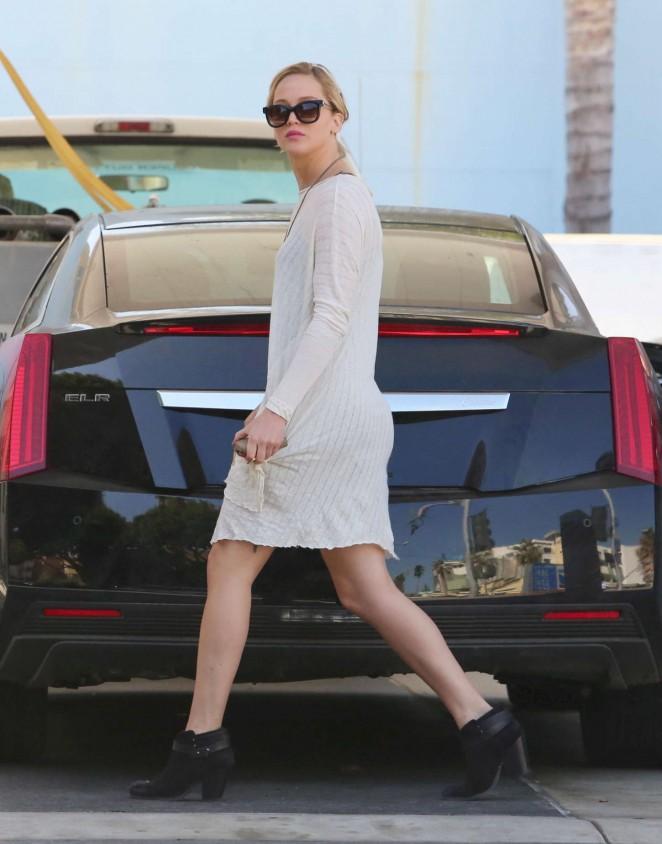 Jennifer Lawrence Leggy in Mini Dress -19