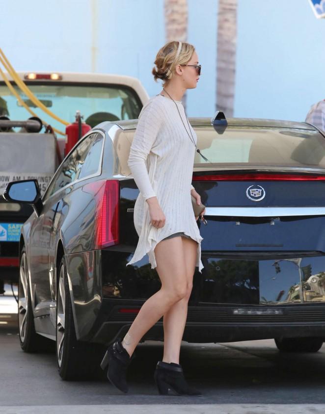 Jennifer Lawrence Leggy in Mini Dress -20