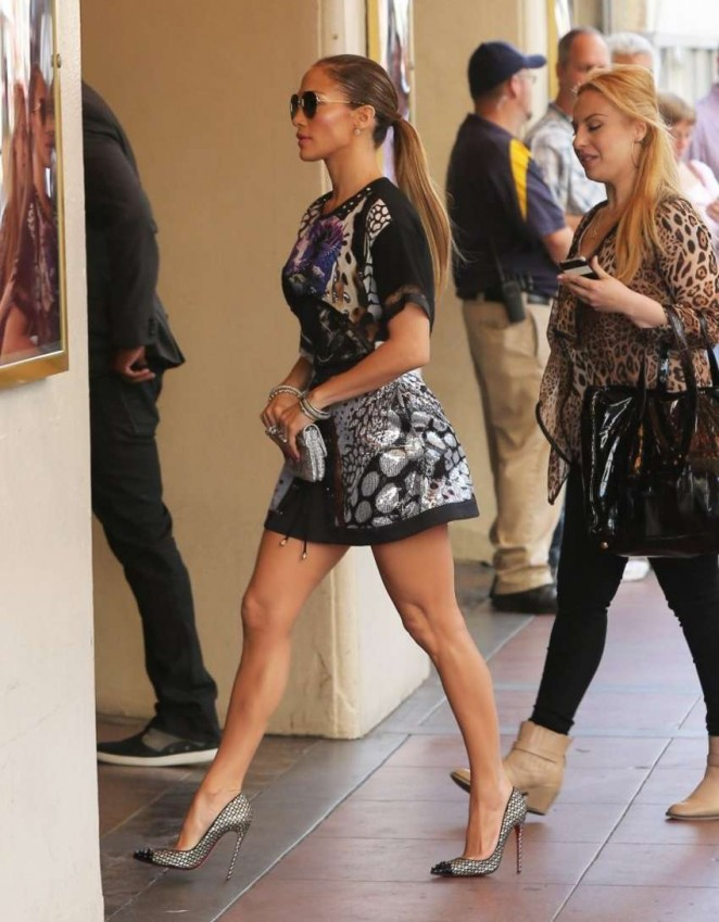 Jennifer Lopez in Mini Dress Filming 'American Idol' in LA