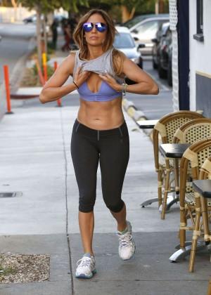 Jennifer Lopez in Leggings and Sports Bra -02