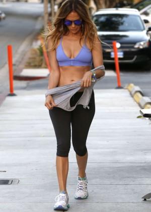 Jennifer Lopez in Leggings and Sports Bra -04