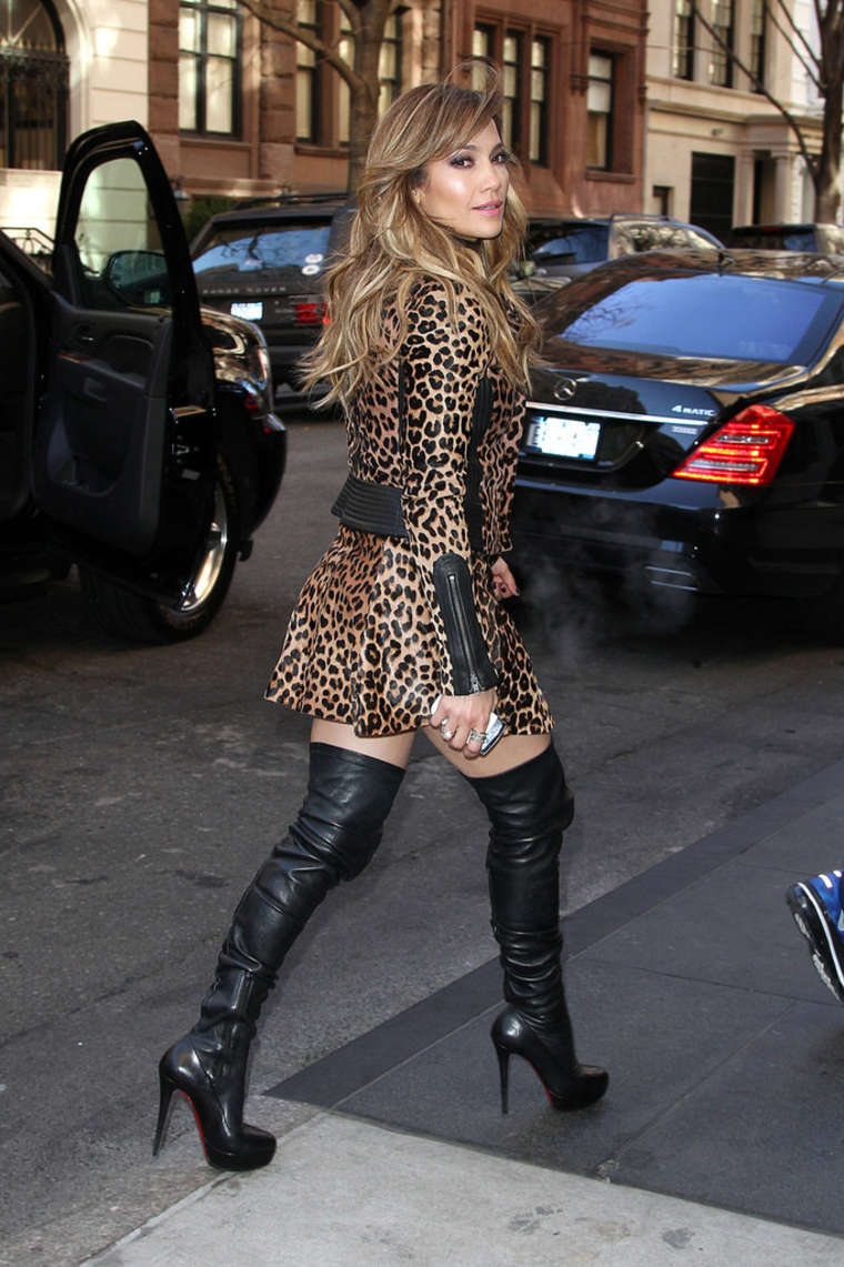 in leopard print dress and boots 07 gotceleb