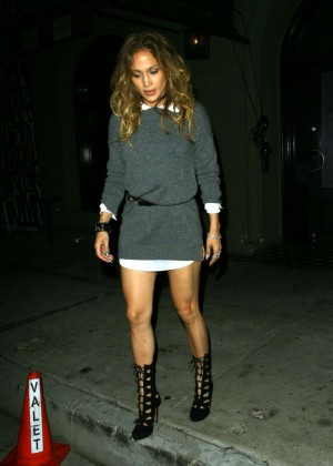 Jennifer Lopez in Mini Dress Leaving Craig's Restaurant in West Hollywood