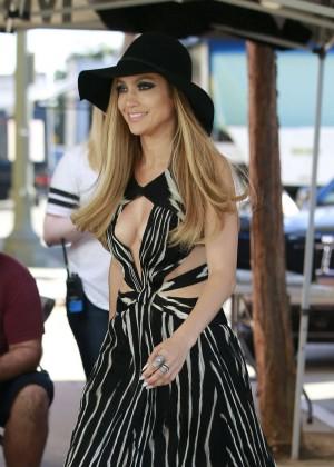 Jennifer Lopez in Long Dress on American Idol set in LA