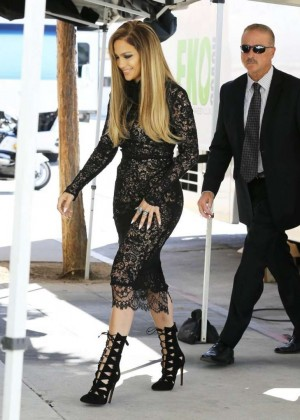 "Jennifer Lopez in Black Dress on the set of ""American Idol"" in Hollywood"