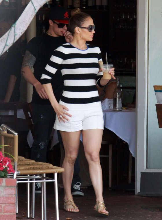 Jennifer lopez wearing white shorts in west hollywood