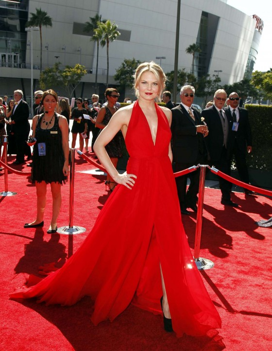 Jennifer Morrison showing cleavage in red dress at Creative Arts Emmy Awards 2012