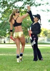 Jennifer Nicole Lee - Black Sports bra and tiny shorts for workout in a park in Miami-21
