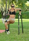 Jennifer Nicole Lee - Black Sports bra and tiny shorts for workout in a park in Miami-22