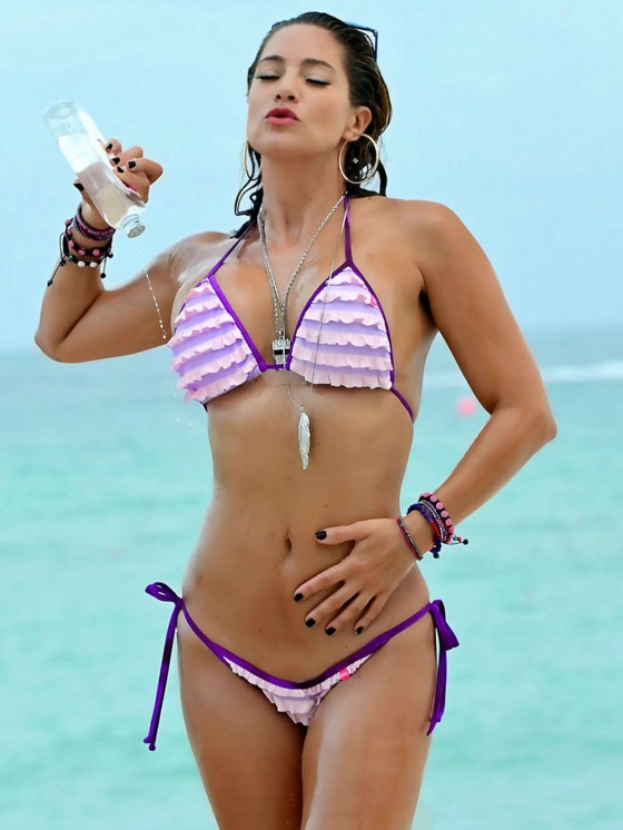 Jennifer Nicole Lee in a Purple Bikini at the Beach in Miami