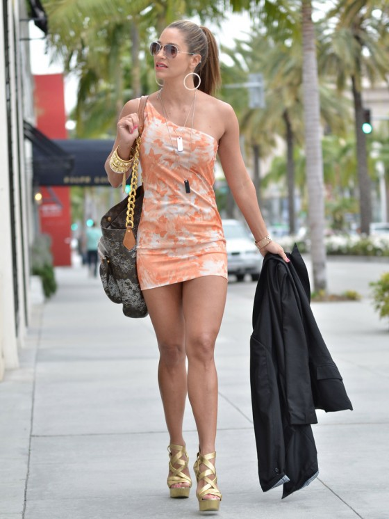 Jennifer Nicole Lee Showing her fit body in a mini dress in Beverly Hills