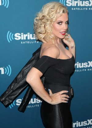Jenny McCarthy in Leather Pants - Hosts A Halloween Costume Party at The SiriusXM Studios in New York