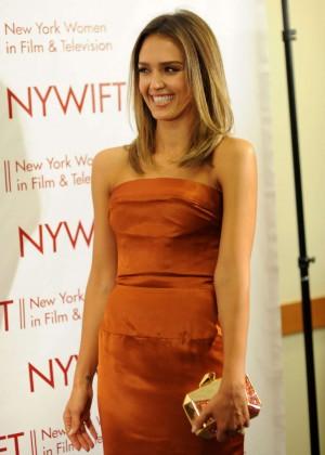 Jessica Alba in gold dress -11