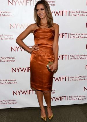 Jessica Alba in gold dress -13