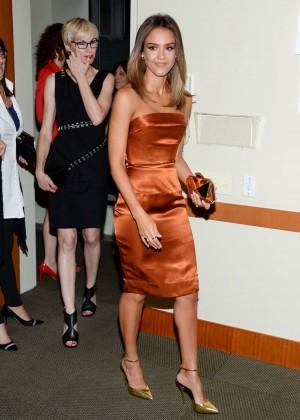 Jessica Alba in gold dress -15