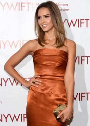 Jessica Alba in gold dress -19