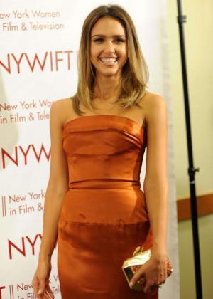 Jessica Alba in gold dress -20
