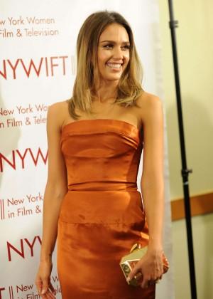 Jessica Alba in gold dress -21