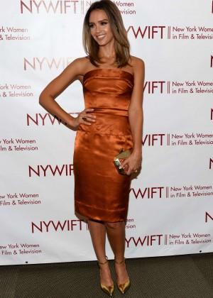 Jessica Alba in gold dress -23