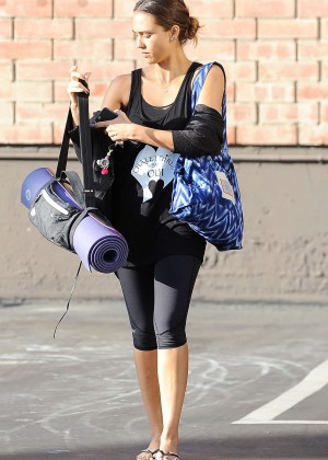 Jessica Alba in Leggings Arriving at a yoga studio in LA