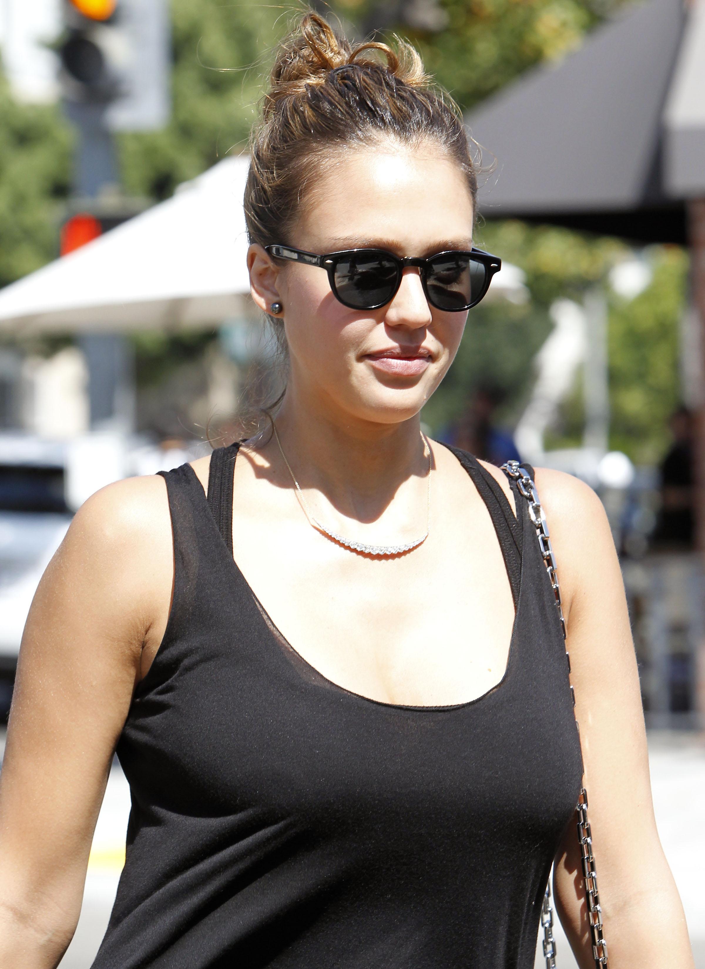 Cool Jessica Alba Black Dress Candids In Beverly Hills 04 Gotceleb Hairstyles For Women Draintrainus