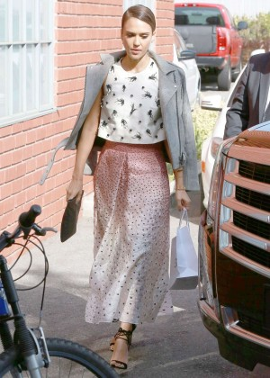 Jessica Alba in Long Dress Heads to a Production Building for a Meeting in LA