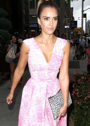 Jessica Alba in Pink Dress Heads to ABC Studios in NYC