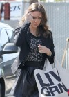 Jessica Alba sexy in mini leather black skirt  in Santa Monica-05