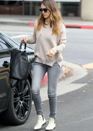 Jessica Alba in Jeans out in Santa Monica