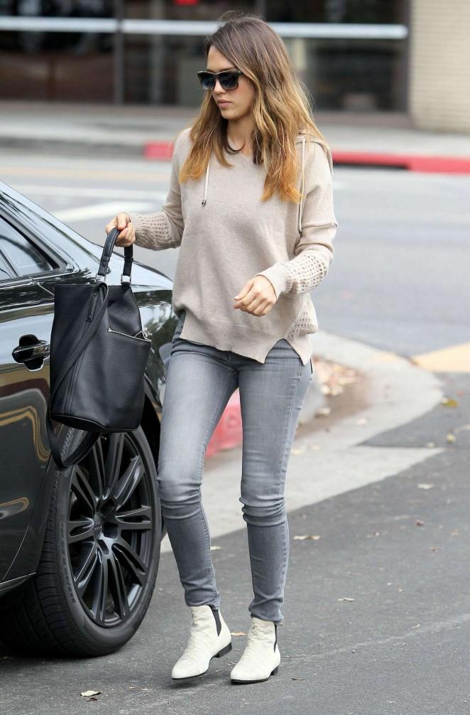 Jessica Alba in Jeans out in Santa Monica