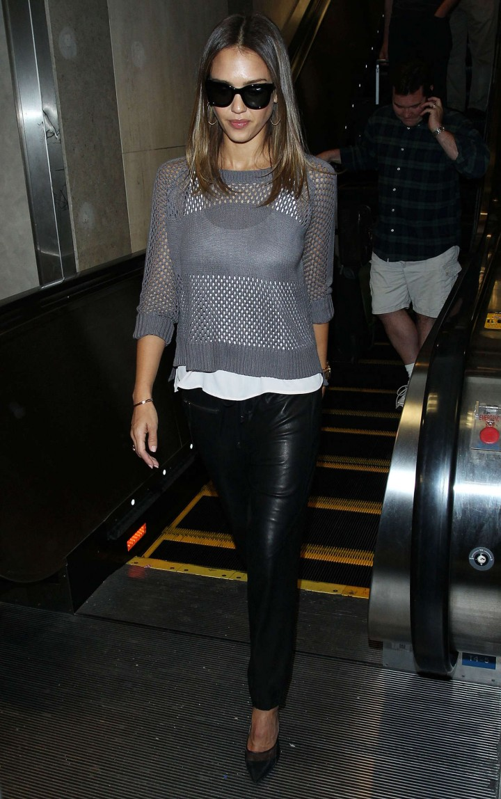 Jessica Alba In Leather Pants Arriving at LAX in Los Angeles