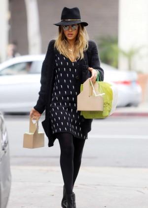 Jessica Alba in Short Dress out in LA