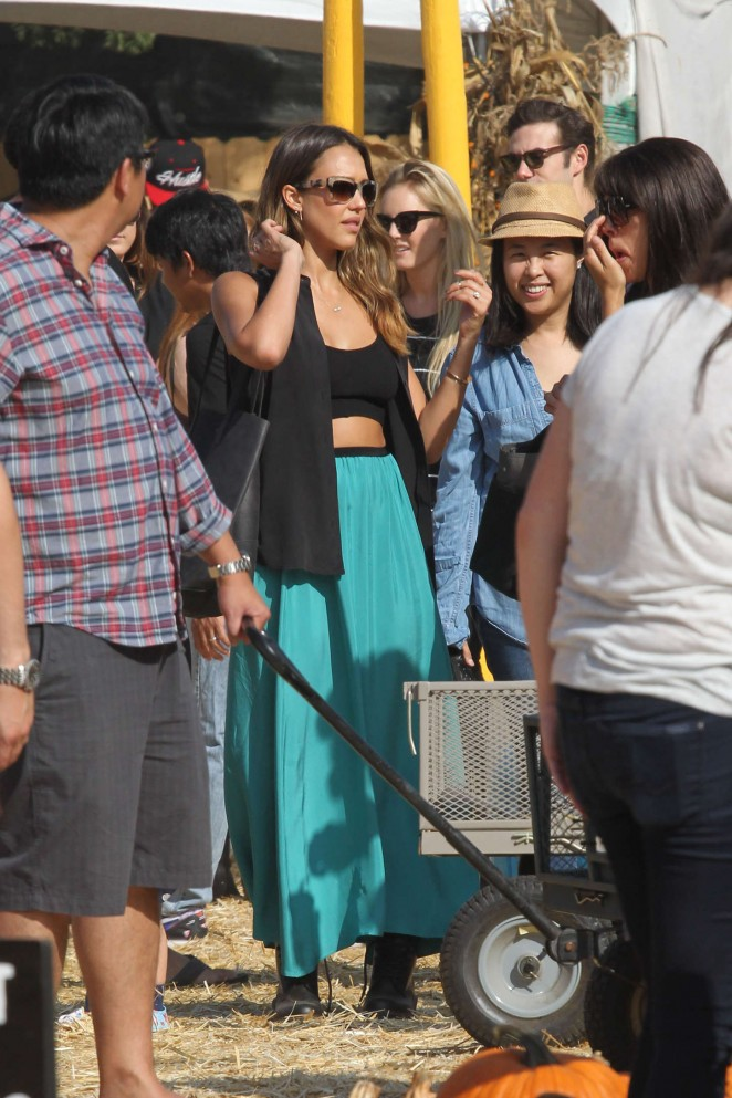 Jessica Alba in Long Skirt And Tank Top at Mr. Bones Pumpkin Patch in West Hollywood