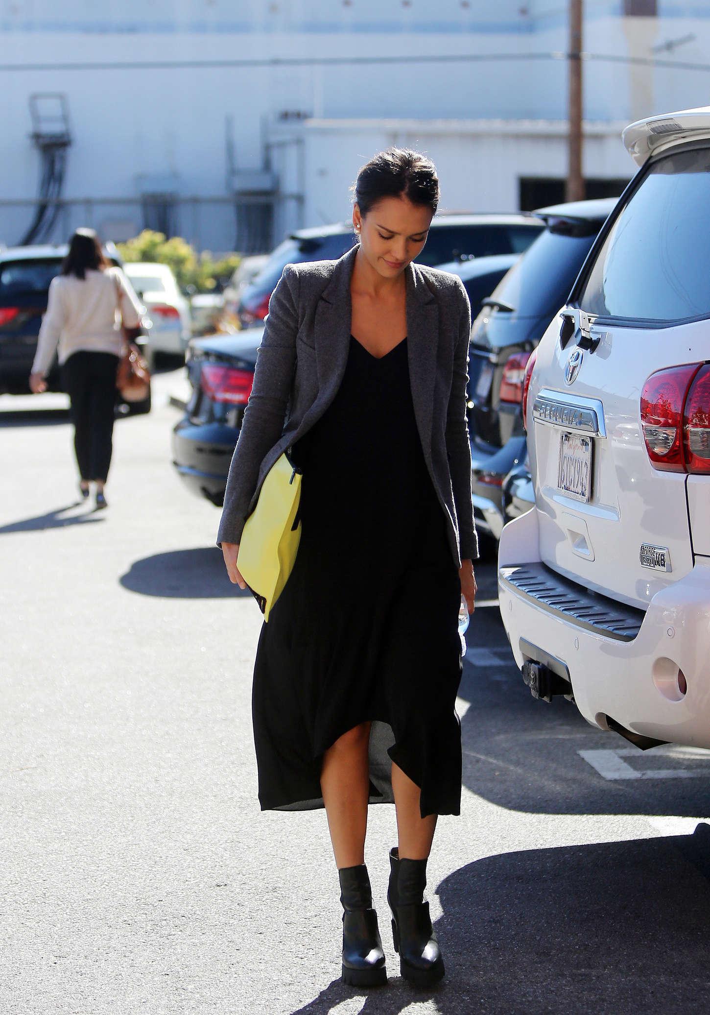Jessica Alba in Black Dress Out in Santa Monica